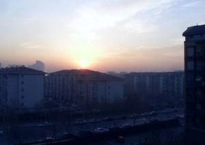 Soluppgång i sydöstra Beijing