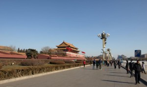 Himmelska Fridens Torg i Beijing den 28 januri 2011