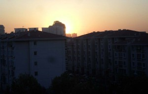 Soluppgång i Beijing