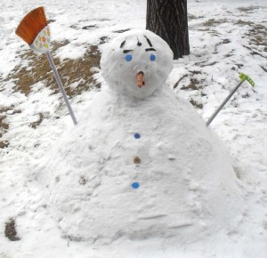 Kinesisk snögubbe med blå ögon