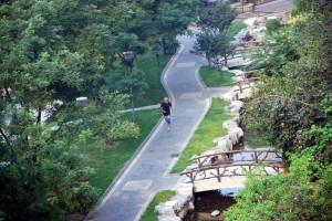Löpning i bostadsområdet