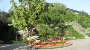 Blomsterdekorationer vid södra ingången