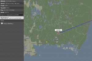SK996 från Beijing till Kastrup gick spikrakt över Nävragöl